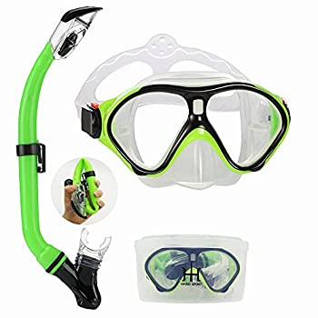 Snorkeling Gear for Kids with Foldable Silicone Full Dry Snorkel Kids Snorkel Set Anti Leak Youth Junior Snorkeling Package Diving Mask Soft Tube with Hard Storage Box Scuba Goggles  Yellow-black