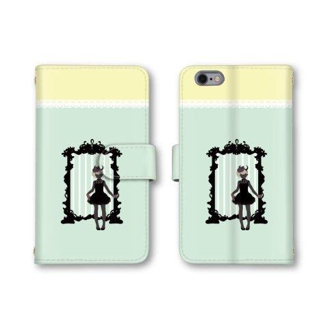 【ノーブランド品】 AQUOS SERIE SHV32 スマホケース 手帳型 女性 シルエット レース 鏡 グリーン 緑色 かわいい おしゃれ 携帯カバー SHV32 ケース 携帯ケース アクオス セリエ