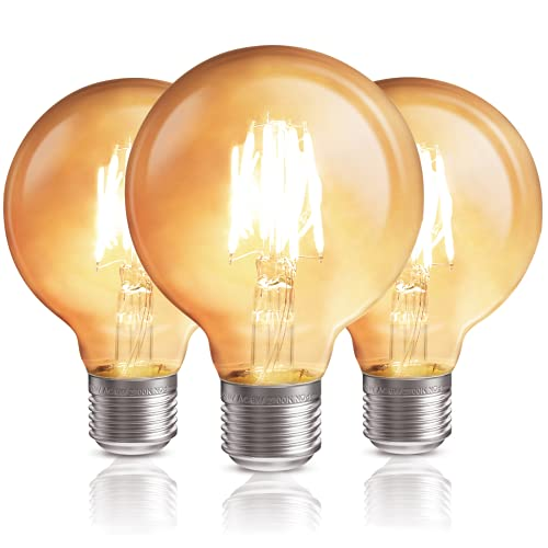 QNINE Luz Calida Bombilla Vintage E27 LED, 6W Equivalente a 50W, 600lm, No Regulable, Pack de 3 Unidades