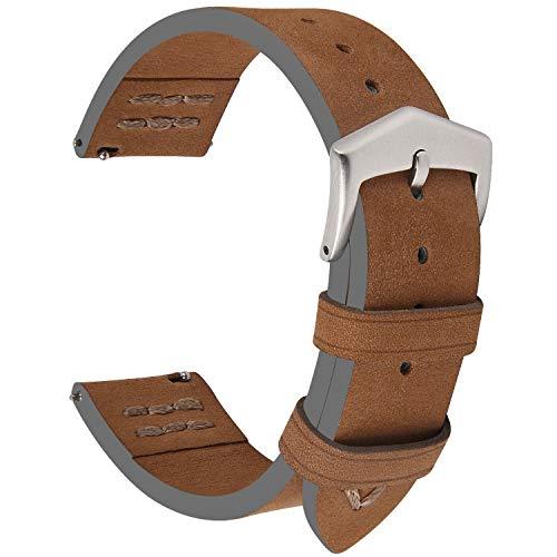 Fullmosa 3 Farben Wildleder Uhrenarmband, Fuma Vintage Handgenähtes Ersatzarmband 18mm Braun+Silber Schnalle