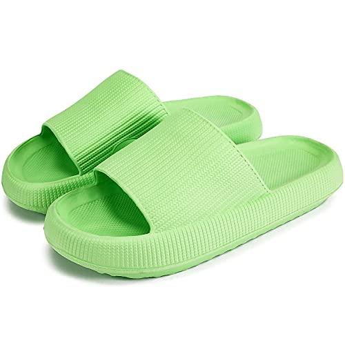 Zapatillas de diapositivas de almohada, súper suave y sin deslizamiento unisex, suela gruesa antideslizante, punta abierta, zapatillas de ducha secas rápidas, zapatos de espesor de playa para mujeres