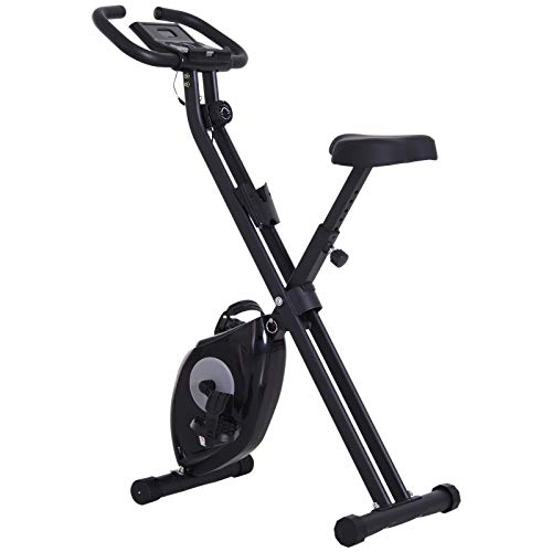 Soozier Foldable Exercise Bike with Adjustable Resistance, LCD Monitor and Tablet/Phone Holder for Health & Fitness Indoor Cycling Black