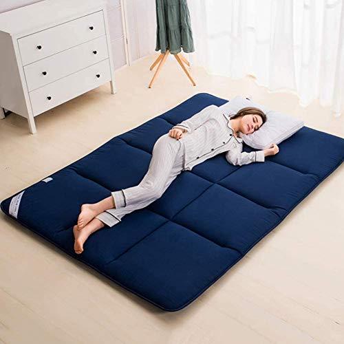 Z&HA Japanische Futon Bodenmatte, bewegliche kampierende Matratze Tatami Bodenmatte Kinder Kissen Falt aufrollbare Matte, atmungsaktive Matratze für Studentenwohnheim,Blau,150x200cm