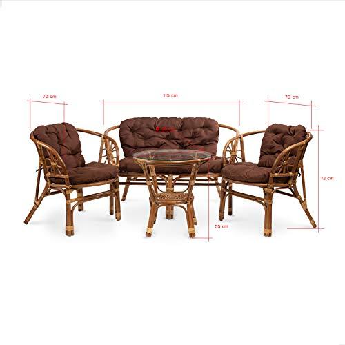Rattan Gartenmöbel Set – Balkon Möbel – Lounge Möbel Terrasse – Ragnarök Gartenmöbel – Tisch Set – Balkonmöbel Set mit Couch (Hellbraun – Schokolade) - 2