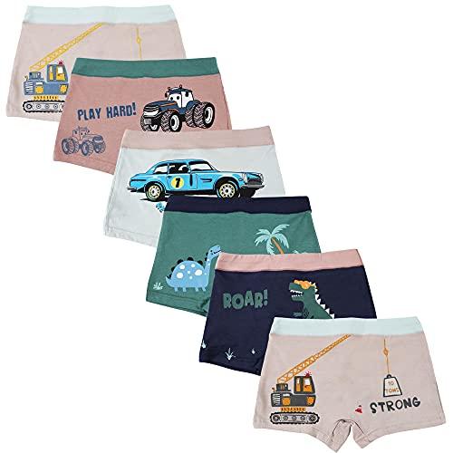 Amur Leopard Kinder Unterhosen Jungen, Unterwäsche für Jungen Boxershorts mit Cartoon Druckmuster 6 teiliges Set, Jungen, 4-5 Jahre