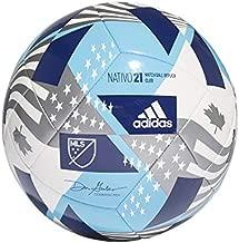 adidas MLS ClubSoccer Ball,White/Bright Cyan/Iron Metallic/Pantone,5