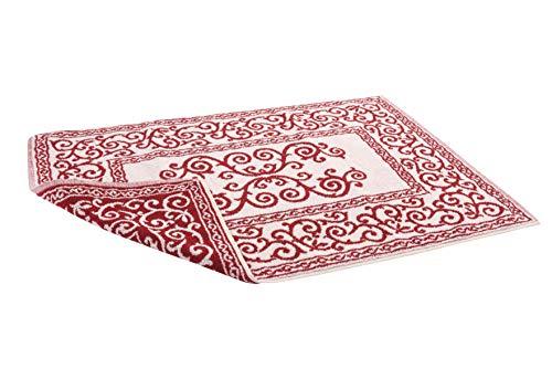 HomeLife – Alfombra de baño Rectangular de algodón [Dimensiones: 45x60] – Alfombrilla para Ducha de Calidad Fabricada en Italia y Lavable en Lavadora – Decoración barroca, Burdeos