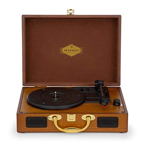 AUNA Nostalgy Peggy Sue - Platine Vinyle rétro, 2 Enceintes stéréo intégrées, poignée,...