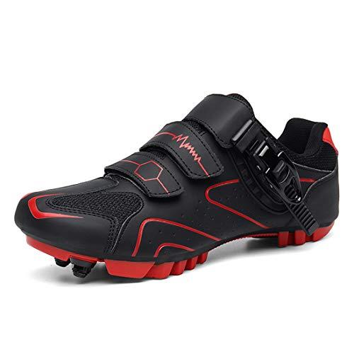Zapatos De Bicicleta Zapatos De Montar En Bicicleta De Montaña Unisex Zapatos De Bicicleta De Montaña con Cierre Automático (45,Rojo)