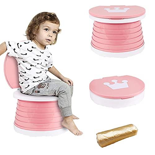 Barrageon Bambino Toilette Pieghevole WC Portatile Secchio Esterni Viaggio Campeggio Vasino Ragazza Ragazzo Sedia Vasino Facile Pulire Trasportare (Rosa)