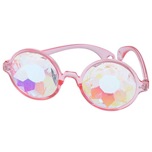 Toyvian Gafas de Caleidoscopio Arco Iris Prisma Gafas de Sol Lentes de Cristal Gafas Steampunk Gafas Rave para Fiesta Decoración de Fiesta Favorece Rosa