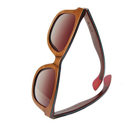 WOLA Sonnenbrille Holz AIR eckige Holzbrille Skateboard-Stil inkl Faltetui polarisiert Damen Herren UV400 Nussholz