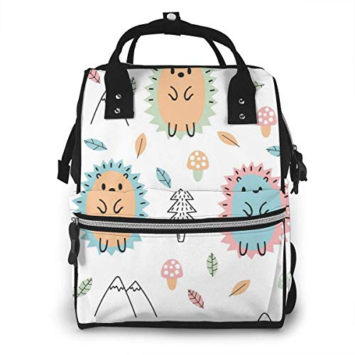 UUwant Sac à Dos à Couches pour Maman Large Capacity Diaper Backpack Travel Manager Baby Care Replacement Bag Nappy Bags Mummy Backpack,(Colored Hedgehog Stands