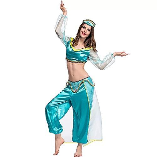 Traje de jazmín Damas Princesa árabe - Conjunto de Disfraces Cosplay, Carnaval y Semana temática - 5 tamaños Diferentes (L)