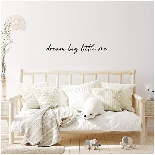 yabaduu Wandtattoo Schrift Sprüche Zitate für Kinderzimmer Babyzimmer Aufkleber Folie Schwarz Matt Deko Selbstklebend (YX009 dream big little one)