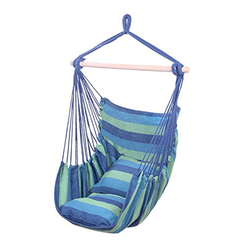 AZHLUF Hanging Rope Chair Hanging Chair Swing Patio Hammock Chair, with 2 Pillows, for Indoor, Outdoor, Home, Bedroom, Patio, Yard,Deck, Garden