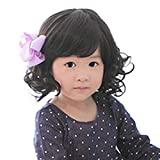 Fashion Black Curly Wigs for Kids Child Bangs Heat Friendly Cosplay Wig