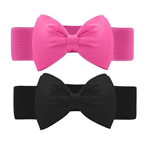 Allegra K Women Press Studs Closure Bowknot Elastic Waist Belt Fuchsia+Black