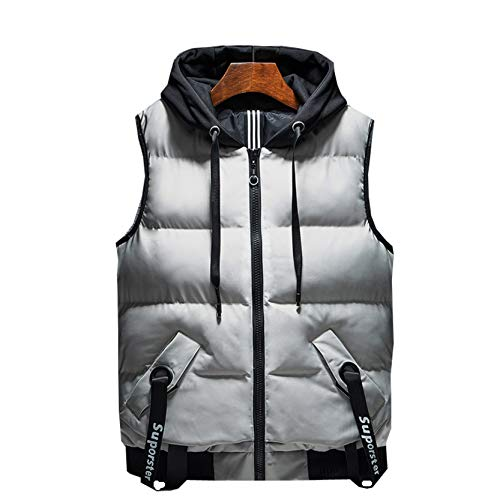 Mens Lightweight Down Vest Jacket Chemical Fiber Quilted Water-Resistant Gilet Winter Travel With Zipper Pockets Waistcoat Jacket