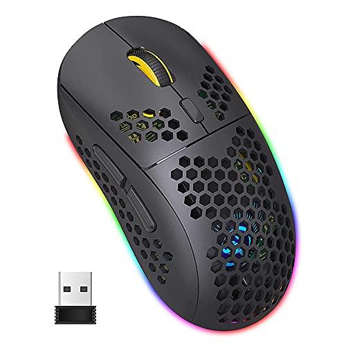 WREWING Mouse Bluetooth leggero e ricaricabile Honeycomb Gaming Mouse wireless con ricevitore USB e porta di ricarica di tipo C per PC portatile Mac (Black)