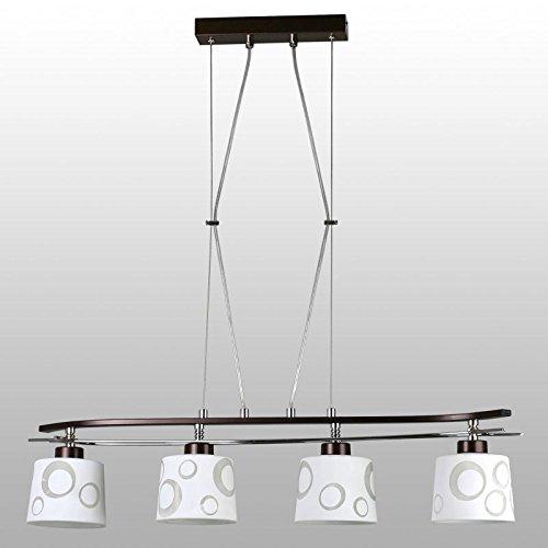 Leuchtstarke Pendelleuchte (4-flammig, Bauhaus, in Braun, Weiß, gemustert, Trichter-Schirm, verchromte Zierelemente) Küchenleuchte Innenlampe Hängeleuchte Hängelampe Pendellampe