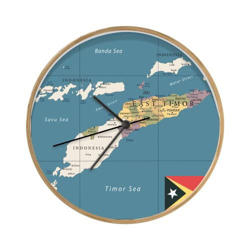 Uhr - Ø 30 cm - Holzfarbene - Eine Illustration der Karte von Osttimor mit der Flagge - Wand