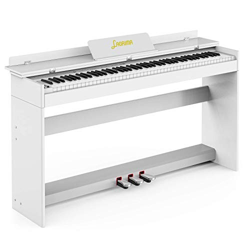 LAGRIMA LAG-900 88 Key Digital Piano Full Size Electric Keyboard w/Music Stand+Power Adapter+3-Pedal Board+Instruction Book+Headphone Jack for Beginner/Adults, White (Piano Only)