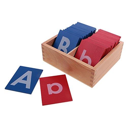 MagiDeal Jeu Educatif Montessori Lettres en Papier Sablé avec Boîte en Bois Jouet d'apprentissage Précoce Cadeau Enfant Bébé