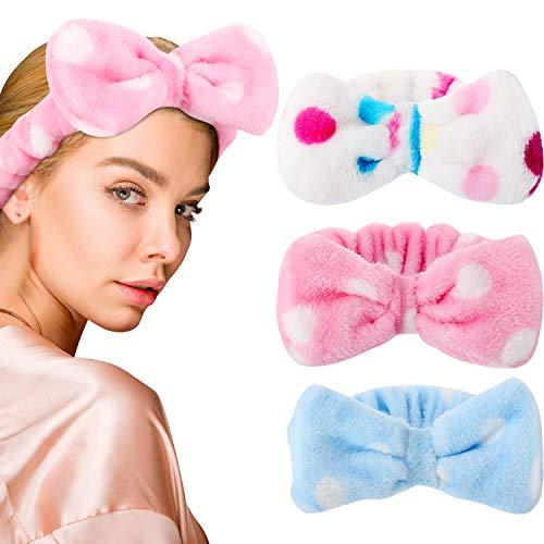3 Stück Bowknot Haarbänder Makeup Stirnbänder Bogen Haarwickel Handtuch Gesicht Makeup Stirnband Koralle Vlies Haarband Sport Bad Dusche Haarband für Damen Mädchen