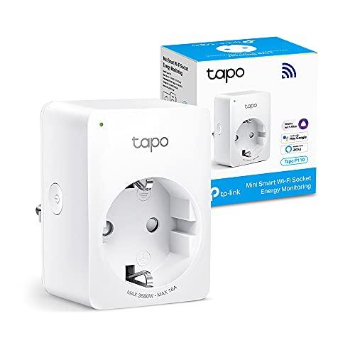 【Nuevo】 TP-Link Tapo P110 - Mini Enchufe Inteligente Wi-Fi (con Monitoreo Energético),Programar el Encendido/Apagado, Ahorro Energía, Compatible con Alexa y Google Home