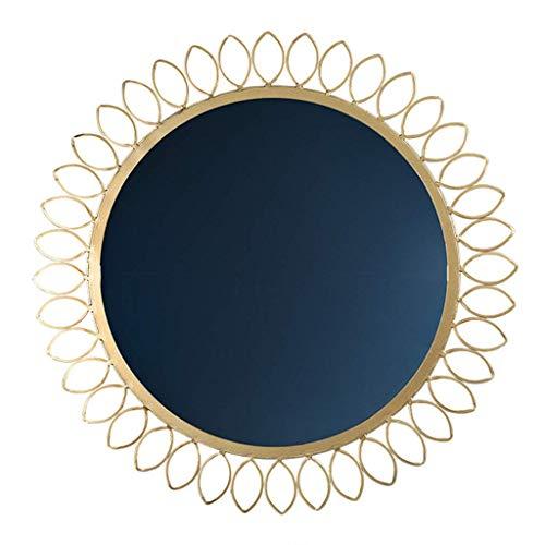 DCLINA Espejo Maquillaje Redondo para baño Espejo Pared-Metal con Marco Hierro Espejos Maquillaje Grandes Espejo Afeitar Dormitorio Sala Estar Pasillo 44 cm, Decoración del hogar