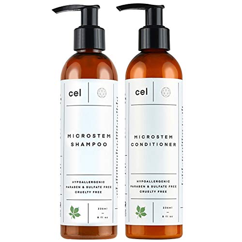 Cel Microstem Natural Hair Thickening Shampoo & Conditioner Set (2 x 8 fl oz) – Stem Cell Anti Thinning Shampoo – Professional Grade Biotin – Sulfate & Paraben Free - Suitable for Men and Women