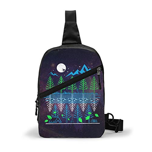 Unisex foldable chest backpack, outdoor travel sports personality Nature Nights pattern custom chest bag