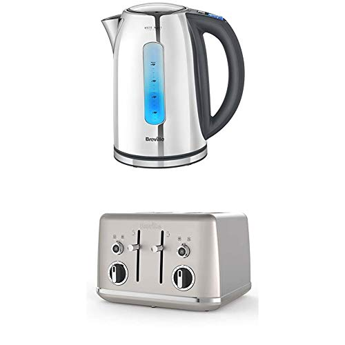 Breville Stainless Steel Kettle with Still Hot Illumination, Stainless Steel + Breville Lustra 4-Slice Toaster with High Lift, Wide Slots and Independent 2-Slice Controls, Shimmer Cream [VTT851]