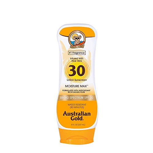 Australian Gold Sunscreen Lotion SPF 30, 8 Ounce | Moisture Max | Infused with Aloe Vera | Broad Spectrum | Water Resistant