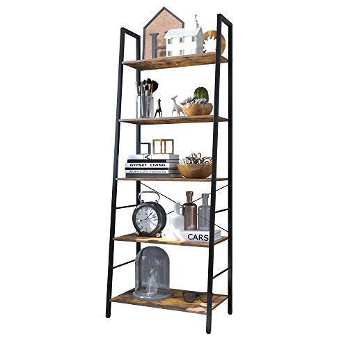 Yusong Ladder ShelfIndustrial 5Tier BookshelfFree Standing BookcaseUtility Organizer Shelves for Plant Flower Wood Look Accent Furniture with Metal Frame for Home OfficeRustic Brown