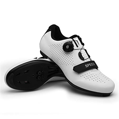 NAICUTE Cycling Shoes for Men Indoor Bike Shoes Road Bike Shoes Mountain Bike Shoes Comfortable Shoes Rider Riding Sneaker(W44) White