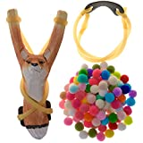 YHMY Children Animal Fox Slingshot Hand-Carved Wooden with Cotton Ammo for Catapult Game Outdoor Hunting Camping Shooting for Kids