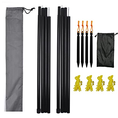 Hmseng Juego de 2 barras telescópicas para tienda de campaña, de 50 a 200 cm, de aluminio, para tienda de campaña, toldo, camping