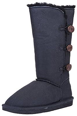 BEARPAW Women's Lauren Boot (6 B(M) US, Black Distressed)