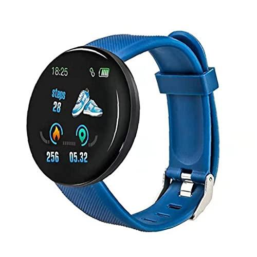 Hombres Fitness Watch, Smart Watch Band Fitness Watch Rastreador impermeable Smart Watch D18 Reloj inteligente Reloj redondo Mida para hombres Mujeres Niños Azul
