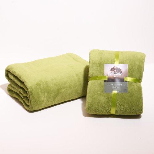 Sancarlos - Manta lisa microfibra, Verde, Plaid, Tamaño 130x170 cm