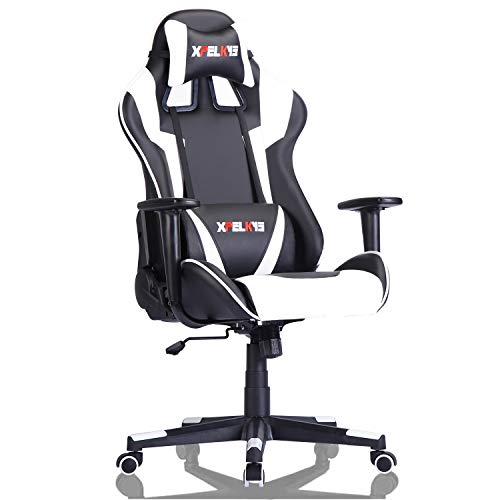 XPELKYS Ergonomic Computer Gaming Chair, High-Back Gaming Chair Office Chair,Height Adjustable Swivel Task Chair with Headrest and Lumbar Support(White)