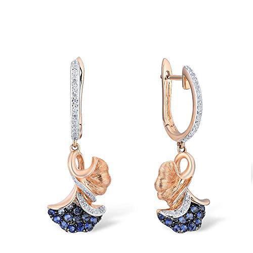 DEYUOIJ Pendientes de Oro Amarillo de 14 Quilates 585 para Mujer Pendientes Colgantes de Zafiro Azul Esmeralda con Diamantes Brillantes Pendientes Colgantes Elegante joyería Fina