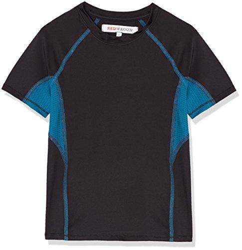 RED WAGON Jungen Atmungsaktives Sport T-Shirt, Schwarz (Black/Teal), 110 (Herstellergröße: 5 Jahre)