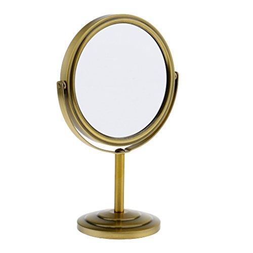 Sharplace Miroir Cosmétique Rotatif sur Table à Double Face Normale et Grossissant pour Homme et Femme - Bronze