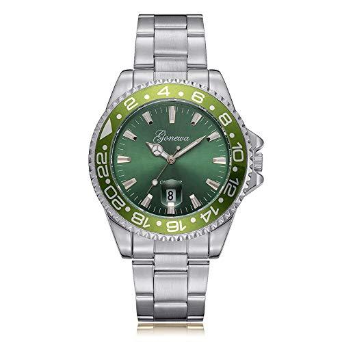 Toamen Men's Fashion Luxurious Military Stainless Steel Date Sport Business Quartz Analog Wrist Watch (Silver+Green)