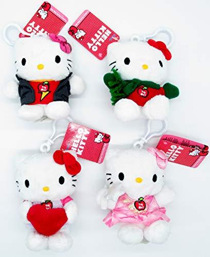 Plüschtier Anhänger mit Sound, kompatibel zu Hello Kitty | Kuscheltier | Plüschtier | Geschenk für Kinder | Mädchen | Jungen | Spielzeug mit Ton | Katze | Cat (4 Stück)
