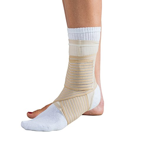 """DonJoy Advantage DA161AV03-TAN-M Ankle Sleeve with Figure 8 Straps for Sprains, Strains, Swelling, Lateral Support, Open Heel, Tan, Medium fits 8.5"""", 9.5"""""""
