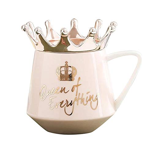 Gebuter Crown Cup Nordic Style Mug Ceramic Simple Girl Gift for Coffee Water BreakfastQueen of Everything Funny red Tone Funny Coffee Mug! Perfect for The Queen in The House!